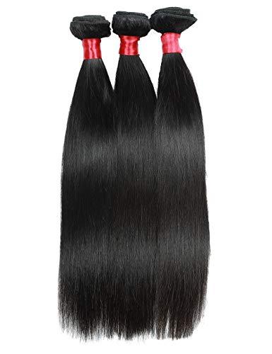 - Elegant Queen Brazilian Straight Hair Bundles Human Hair Bundles Virgin Hair Weave Unprocessed Remy Hair Extensions, 14 Inch 16 Inch 18 Inch, Natural Black, 3 Bundles