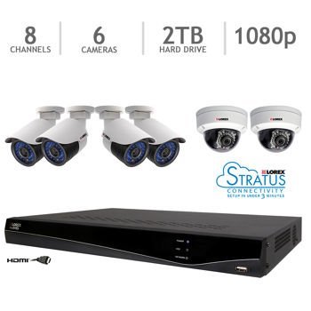 Lorex 8 Channel Full HD Real-Time PoE NVR Security System with 2TB Hard Drive and 6 1080p Cameras