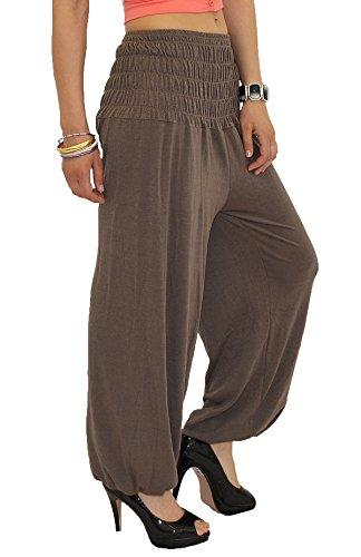 by-tex Pantalon Sarouel pour Femme Pantalon Pump Femme Pantalons Harem pour Dames Pantalon de Yoga S01 Marron Clair