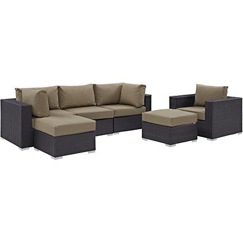 Modway Convene Wicker Rattan 6-Piece Outdoor Patio Sectional Sofa Furniture Set in Espresso Mocha