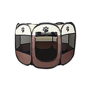 Cosy Life® Parque para Perros – Recinto de Juego Entrenamiento Dormitorio para Mascotas – S 65 x 65 x 44 cm – Marrón
