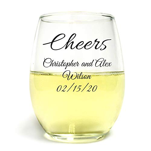 (Cheers 9 oz Custom Printed Stemless Wine Glass, 144 Count, Personalized Black Print, Toasting Glasses Party Favor Anniversary or Couples)