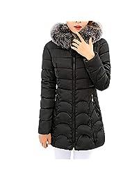 PENATE Women's Slim Down Jacket Winter Warm Plush Hooded Cotton Coat Outfit