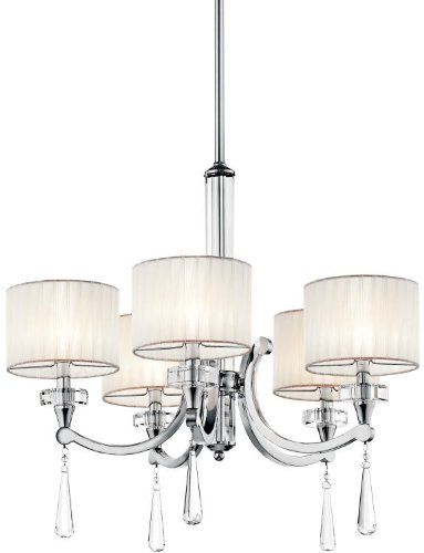 42631CH Parker Point 5LT Chandelier Polished Chrome Finish with Organza Fabric Shades and K9 Optical Crystal Column Accents