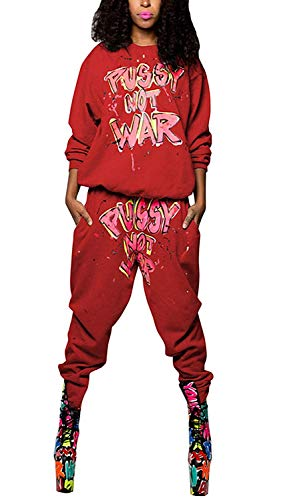 Women 2 Piece Outfits Letter Print Long Sleeve Crew Neck Pullover Sweatshirt Joggers Pants Tracksuit Set(Red-Medium) ()