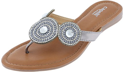 Capelli New York Ladies Flip Flops with Gems, Rhinestones, and Beaded Trim Pewter Grey 9 by Capelli New York