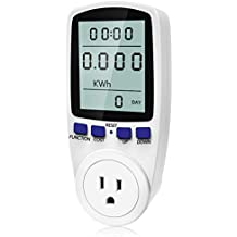 Kuman Plug Power Meter Energy Electricity Usage Monitor Watt Voltage Amps Meter with Digital LCD Display,Overload Protection and 7 Display Modes for Energy Saving KW47 (LCD Display Power Meter)
