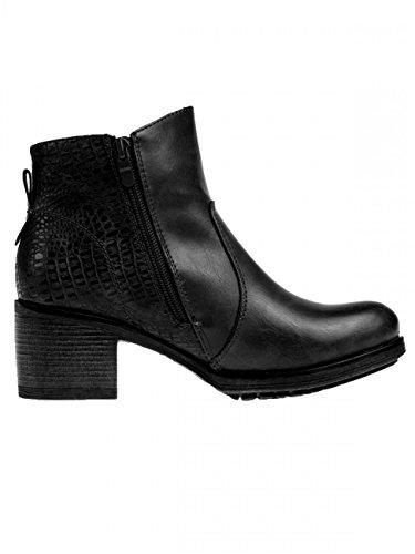 CASPAR Fashion - Botas de cuero sintético para mujer, color Negro, talla 38