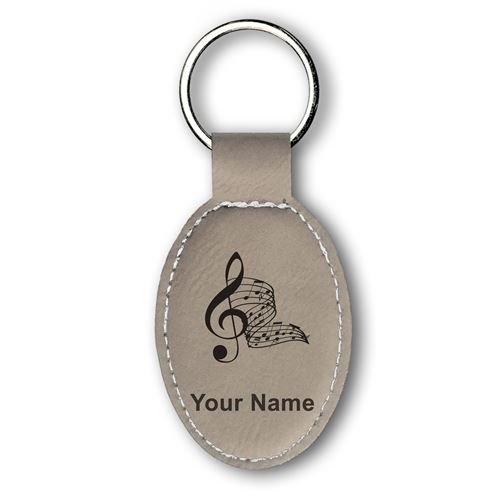 Musical Note Keychain (Keychain - Musical Notes - Personalized Engraving Included (Light Brown))