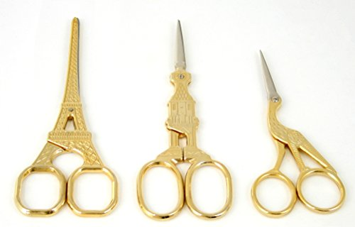 3 Gold Plated Stainless Steel Stork Bird / Eiffel Tower/ Big Ben Scissors for Embroidery, Sewing, Craft, Art Work & Everyday Use - ThreadNanny Brand by ThreadNanny