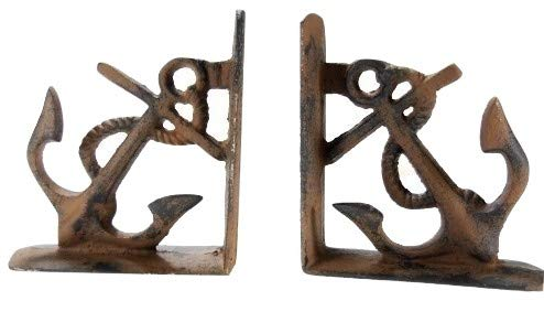 Heavy Cast Iron Anchor Bookends Nautical Decor Old Brown 5 1/2