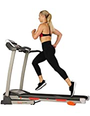 Sunny Health & Fitness Folding Treadmill with Device Holder, Shock Absorption and Incline