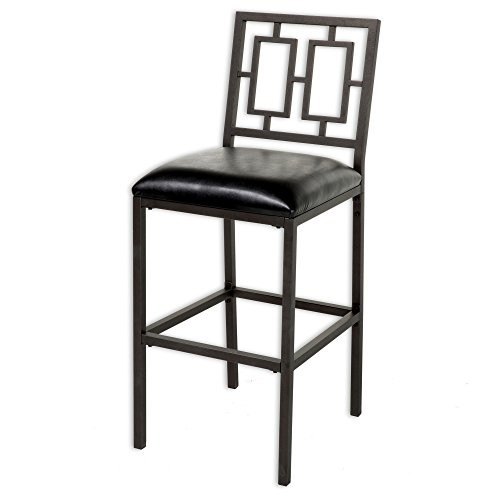 Fashion Bed Group Lansing Counter Stool with Coffee Finished Metal Frame, Patterned Seatback and Black Faux Leather Upholstery, 26-Inch Seat Height