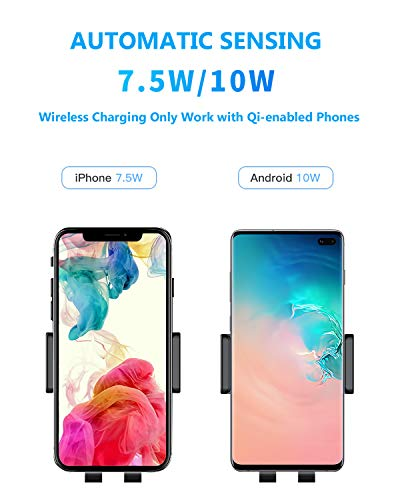 Wireless Car Charger Mount, 7 5W/10W Fast Charging, Auto-Clamping,  Dashboard Air Vent Phone Holder Mount, Compatible iPhone Xs/Xs  Max/XR/X/8/8+,