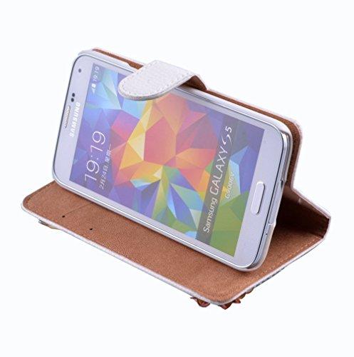 Evtech (tm) Floral Rosa Blanca PU Leather Case Caja de la carpeta de la cubierta del soporte del tirón con ranuras para tarjetas para Samsung Galaxy S6 Edge Plus Patrón-4