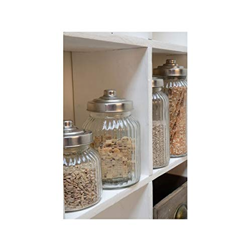 Decorative Ribbed Glass Jar Wavy With Lid for Cookie Sweet Kitchen Storage We...