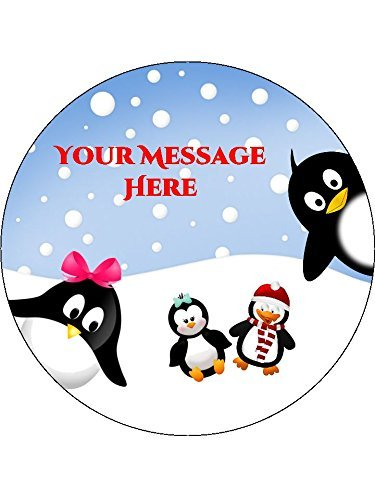 Personalised Cute Winter Penguins 19cm / 7.5