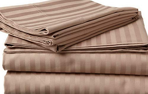 Price comparison product image Dokis Complete Bedding Set Taupe Stripe Choose Sizes 1000 Thread Count Cotton / Model SHTST - 12766 / Olympic Queen