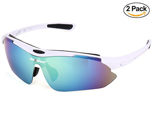 Polarized Sunglasses for Men & Women - Sport Sunglasses (BONUS: Value 2 Pack) - Best Cycling Sunglasses | Running Sunglasses | Golf Sunglasses - Up Your Game with OneSpeed Sports Sunglasses (White) (Best Company Sunglasses)