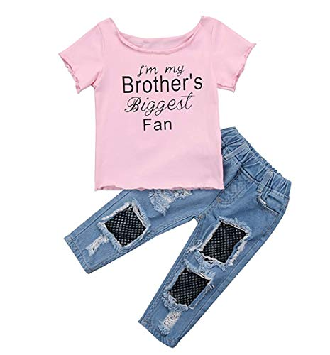 Girls T-shirt Pms (Infant Girl T-Shirt Jeans Outfit Set Short Top Mesh Holes Denim Long Pants)