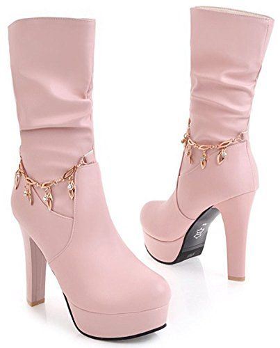 On Calf Pointy Pink IDIFU Booties Pull Platform High Mid Sweet Heeled Block Women's Toe Twqw1Pt