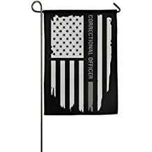 TT&Flag Thin Silver Line Correctional Officer Funny Home Backyard Decorative Flag For Holiday