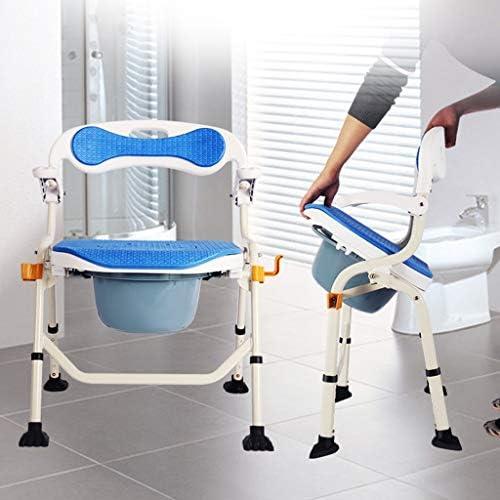 取り外しフットレストとアームレスト付き車輪付き箪笥折りたたみポータブルモバイルトイレチェア妊婦 (Color : A)
