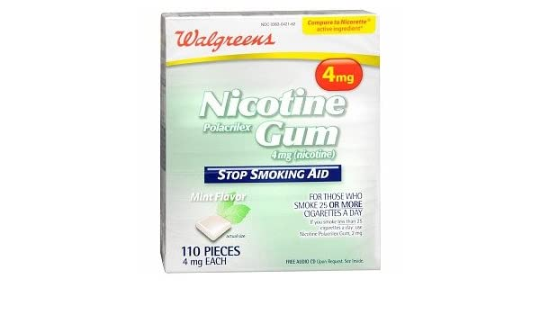 Amazon com: Walgreens Nicotine Gum 4mg - 110 Pieces Mint: Health