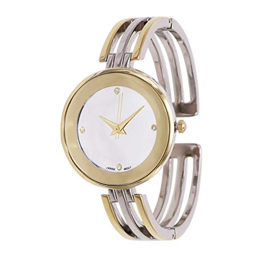 Rosemarie Collections Women's Stylish Silver Face Cuff Bracelet Watch (Two-Tone)