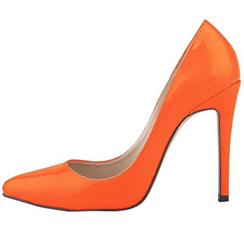 Femme Chaussure Fermé Oasap Bout Escarpin Hauts Talons Orange 1d8RRqwZx