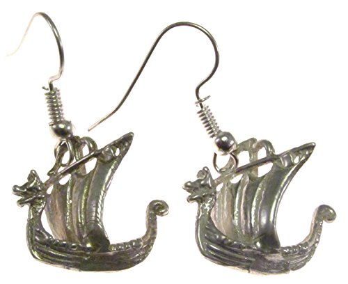 (Sterling Silver Viking Ship Earrings)