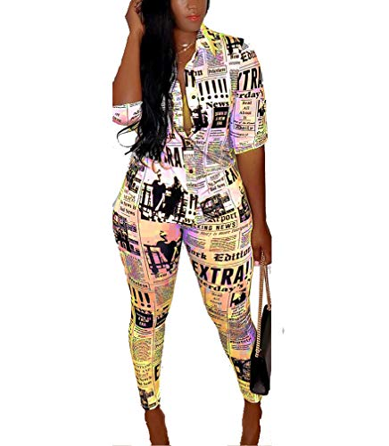 Best Party Outfits 2019 (Swahugh Party Outfits for Women - Club Outfits for Women Two Piece Outfits for Party Club Night Summer Newspaper Print Shirt Bodycon Long Pants Tracksuit Outfits)