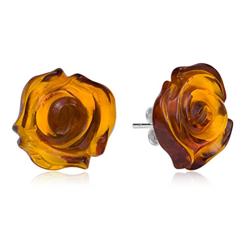 Amber Sterling Silver Carved Flat Rose Stud -