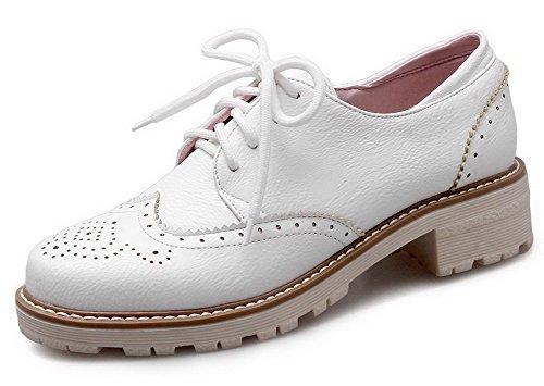 AllhqFashion Damen Niedriger Absatz Weiches Material Rein Schnüren Rund Zehe Pumps Schuhe Weiß