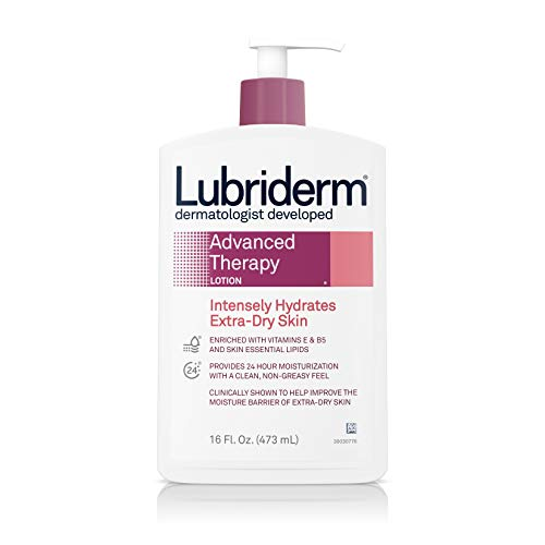 Lubriderm Advanced Therapy Moisturizing Lotion with Vitamins E and B5, Deep Hydration for Extra Dry Skin, Non-Greasy Formula, 16 Fl Oz (Pack of 2) ()
