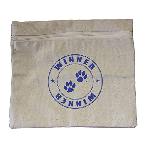 "Price comparison product image Stamp Winner Cat Paws Cotton Canvas Zippered Pouch Makeup Bag 12""x10"""