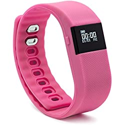 BlueWeigh Rainbow Fitness Activity Tracker with Sleep Monitor, Pink