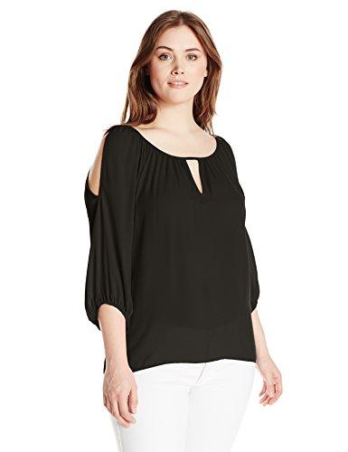 Single Dress Women's Plus Size Solid Cut Out Blouse, Black, 1X