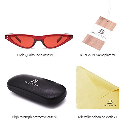 BOZEVON Rétro lunettes verres Vintage à Triangle Femmes Mode de Dames Rouge Lunettes Rouge soleil Cool r5XHqrxv