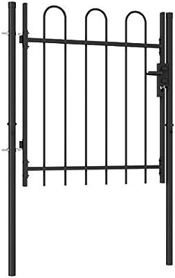 Tidyard Puerta de Valla Cancela de Valla con una Puerta y Arcos Acero Negro 1x1 m con Partes Superiores en Forma de Arco: Amazon.es: Hogar