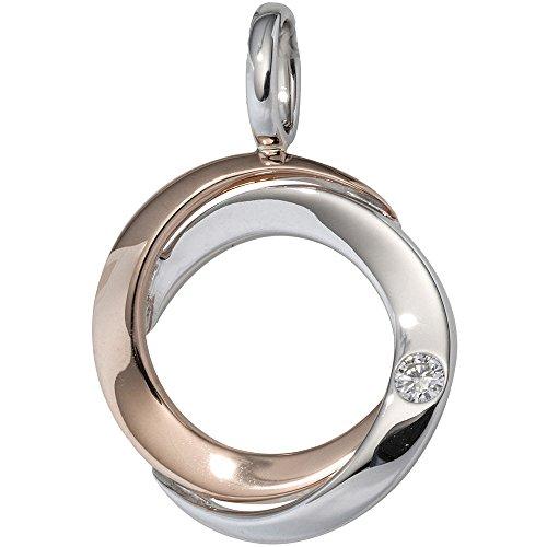 JOBO pendentif en or blanc 585 or bicolore en diamantanhänger 1 diamant taille brillant