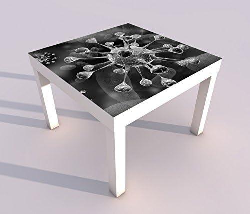 Diseño - Mesa con UV Impresión 55x55cm Negro Blanco Virus Mikrobe ...
