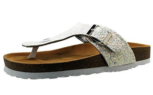 BigTree Sandals for Women T Strap Buckle Open Toe Gladiator Beach Thong Flat Summer Flip Flop Silver Glitter