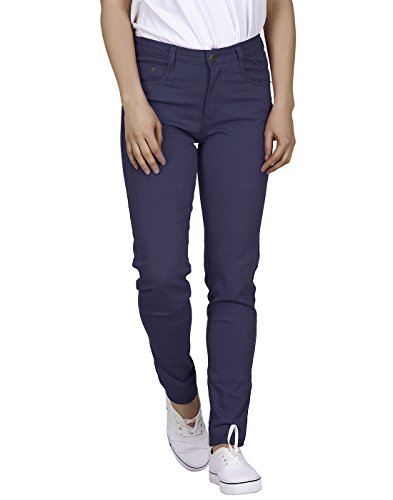 HDE Women's Mid-Rise Stretchy Denim Slim Fit Skinny Jeans (Navy, Large) ()