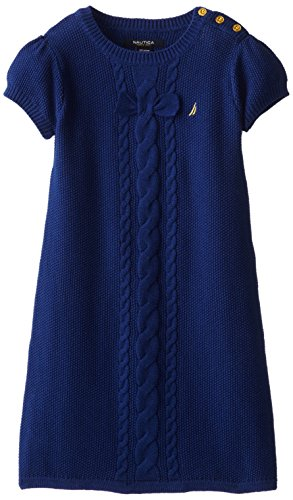 Nautica Little Girls' Solid Sweater Dress with Bow and Cable Detail and Gold Button Shoulder Placket 2, Medium Navy, 5