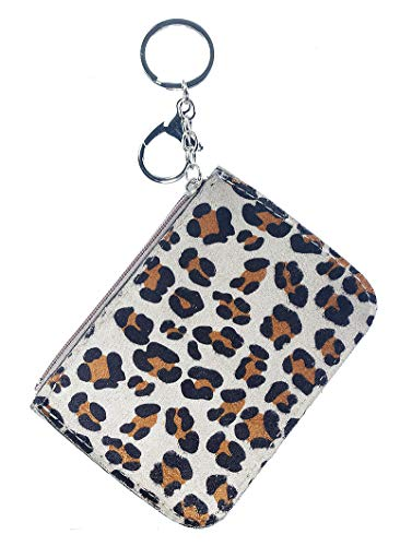 (Keychains ~ Faux Leather Leopard Skin Print ID Wallet Bag Accessory Keychain for Women)