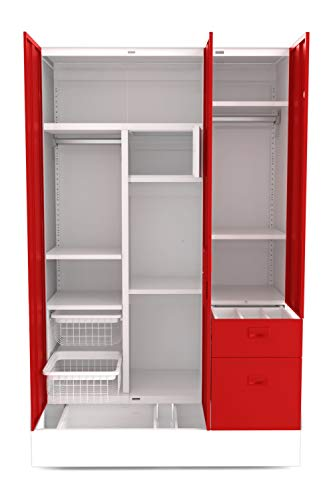 GODREJ INTERIO Slimline Blend 3 Door Steel Almirah in Ceremine Red,Textured Finish 2021 July Dimensions W x H x D (cm) 134.9 x 195.1 x 50.8 / Primary Material: Mild Steel/ Delivery Condition: Knock Down, Free Assembly Provided Sleek Design:The furniture with which you furnish your home reflects your style and sensibilities. The sleek Slimline Wardrobe adds style points to your bedroom. Sturdy CRCA Build:CRCA Steel has stood the test of time and durability. This is why the Slimline Wardrobe excels in both, giving a piece that is strong and long-lasting.