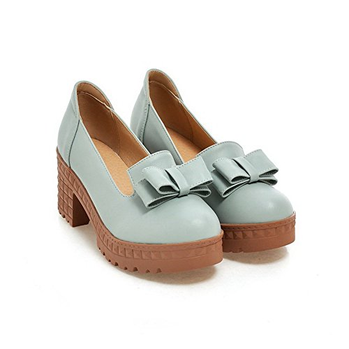 on Pull Round Toe Soft Heels Women's Pumps Closed Solid Material Blue Shoes WeiPoot High YqRItZ