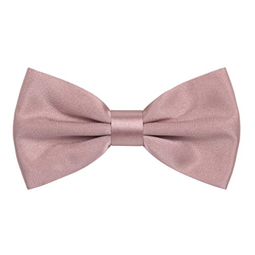 Crepe Tie - Satin Classic Pre-Tied Bow Tie Formal Solid Tuxedo, by Bow Tie House (Large, Dusty Rose)
