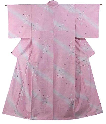 母性参加する乞食リサイクル 着物 紬  正絹 袷 斜め縞に蝶々 裄63cm 身丈158cm